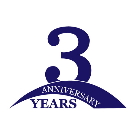 3 years anniversary, flat simple design, logo