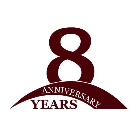 8 years anniversary, flat simple design, logo