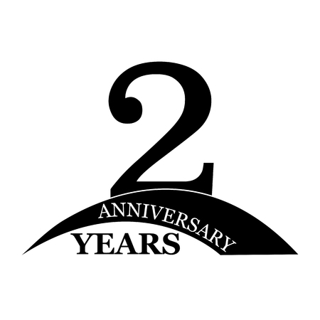 2 years anniversary, flat simple design, logo