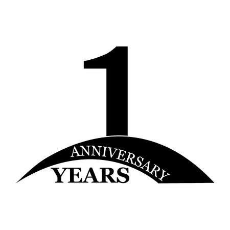 1 years anniversary, flat simple design, logo