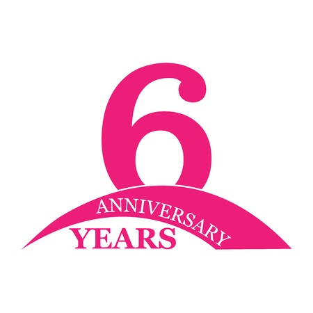 6 years anniversary, flat simple design, logo
