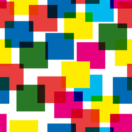 Colorful abstract pattern of multi-colored overlapping squares, white background