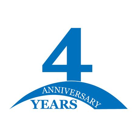 4 years anniversary, flat simple design, logo