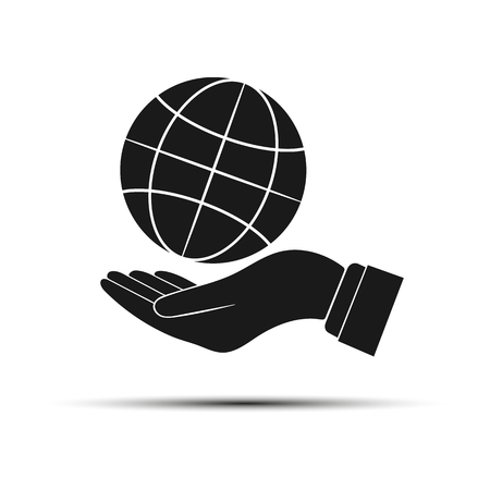 Globe icon above the outstretched palm. Flat design style