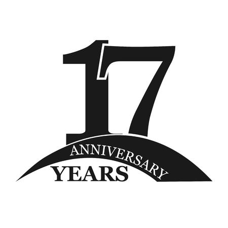 17 years anniversary, flat simple design, logo