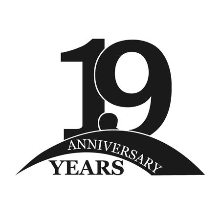 19 years anniversary, flat simple design, logo