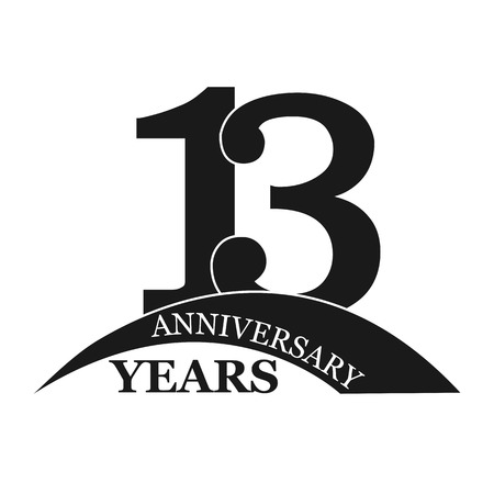 13 years anniversary, flat simple design, logo
