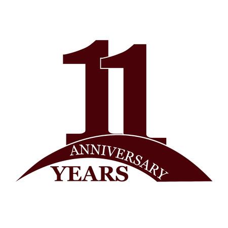 11 years anniversary, flat simple design, logo