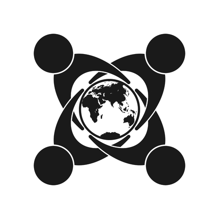 Symbol of unity of different people, concern for the world and ecology, flat design Vektorové ilustrace