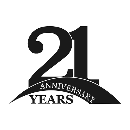 21 years anniversary, flat simple design, logo Illustration