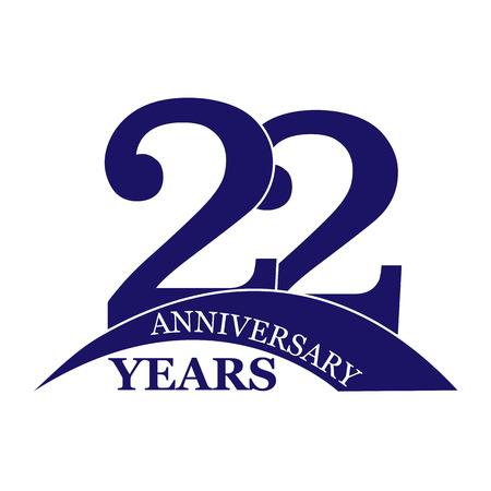 22 years anniversary, flat simple design, logo 向量圖像