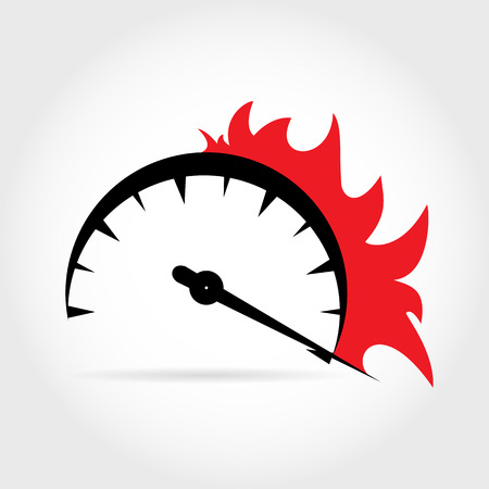 Symbolic increase in speed on the speedometer with the advent of fire, a flat design Illustration