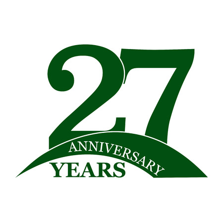27 years anniversary, flat simple design, logo