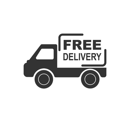 Truck with the inscription free delivery, flat design