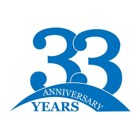 Anniversary 33 years, birthday greetings, happy birthday or wedding, flat simple design