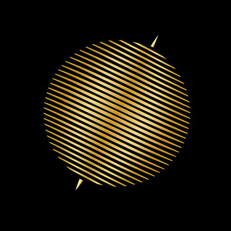 Circle from parallel lines in gold color on black background