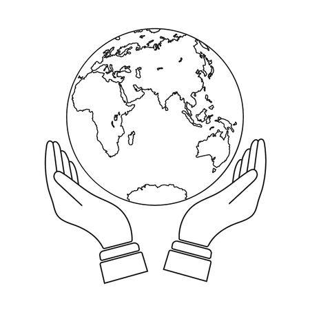 Hand with outstretched palms holds the globe, the globe above the outstretched palms, flat design