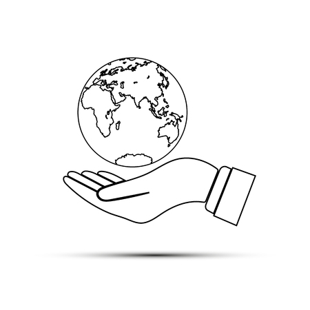 Hand with outstretched palm holds the globe, the globe above the outstretched palm, flat design