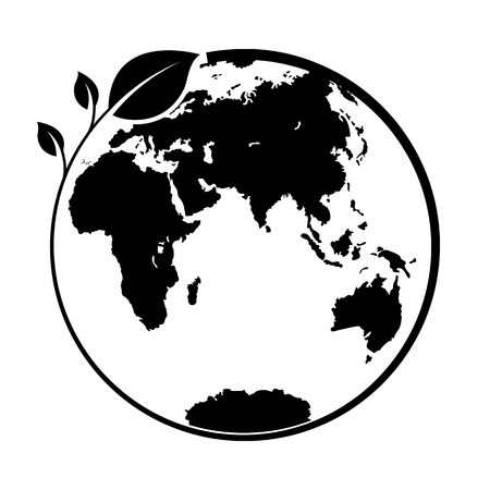 Branch with leaves wrapped around the globe, logo or pattern for design or decoration, flat design 向量圖像