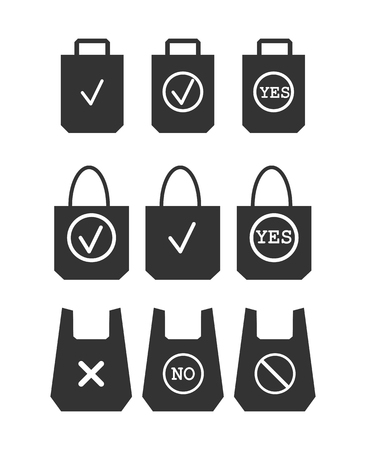 set of icons prohibiting the use of plastic packaging and approving the use of organic packages. Do not use plastic bags. Environmental protection Illustration