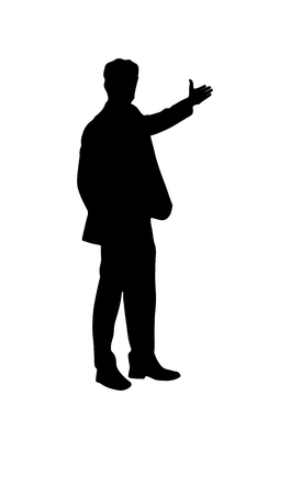Silhouette of a man with an outstretched arm. The man offers to go in the direction of the outstretched arm, flat design.