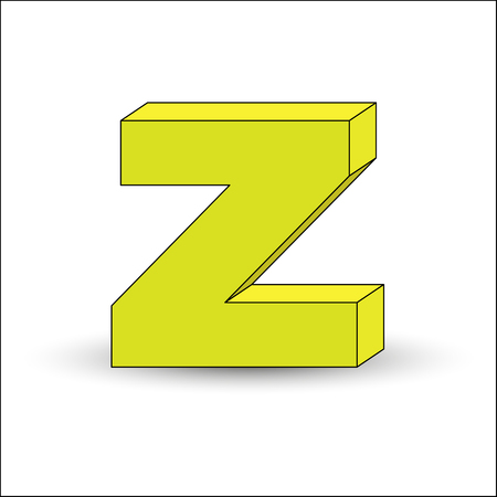 Three-dimensional image of the letter Z. the Simulated 3D volume, simple design