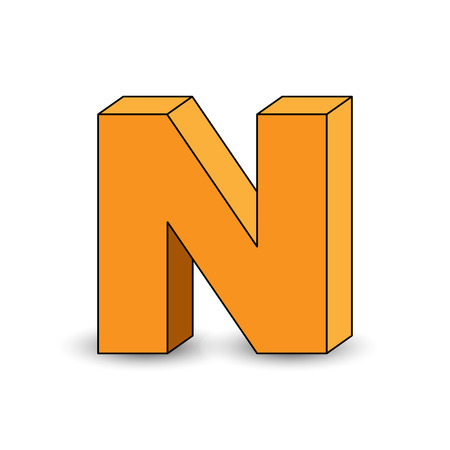Three-dimensional image of the letter N. the Simulated 3D volume, simple design