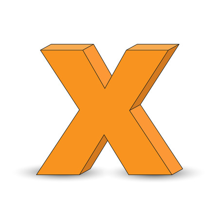 Three-dimensional image of the letter X. the Simulated 3D volume, simple design Illustration
