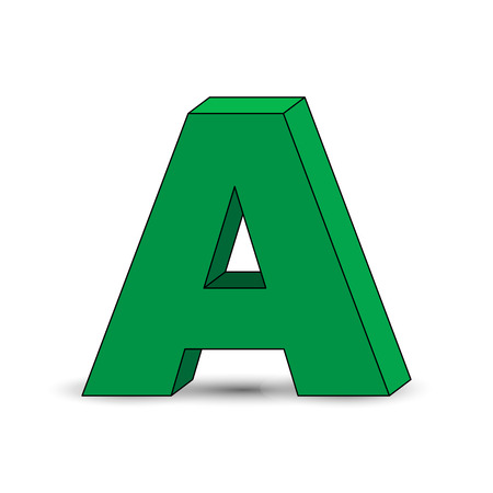 Three-dimensional image of the letter A. the Simulated 3D volume, simple design