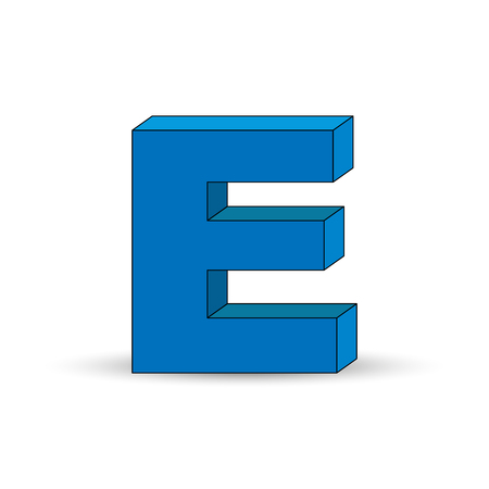 Three-dimensional image of the letter E. the Simulated 3D volume, simple design