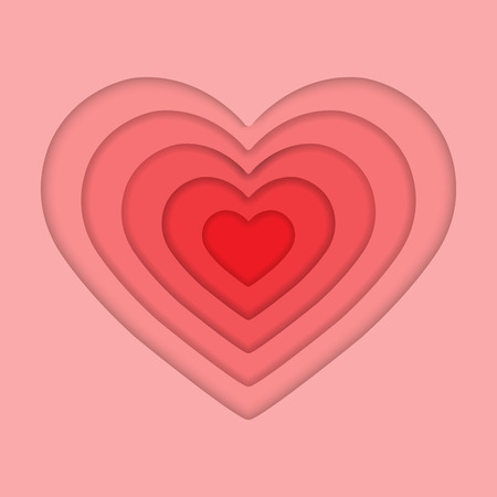 Heart silhouette of several elements in shades of pink with simulated volume for design and decoration Illustration