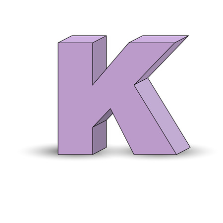 Three-dimensional image of the letter K. the Simulated 3D volume, simple design