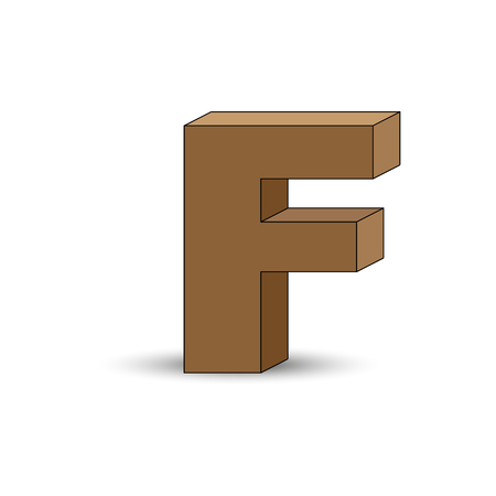 Three-dimensional image of the letter F. the Simulated 3D volume, simple design Illustration