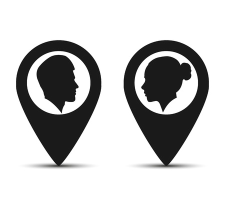 Men and women icons, map pointers, flat design