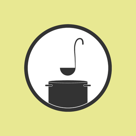 Icon of a ladle with a pan, flat icon for design and decoration