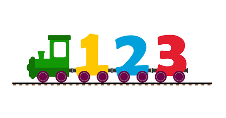 Colorful childrens train with a locomotive and wagons from the figures, flat design