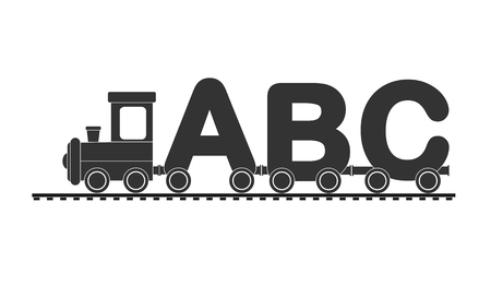Children's train with locomotive and carriages of letters, flat design