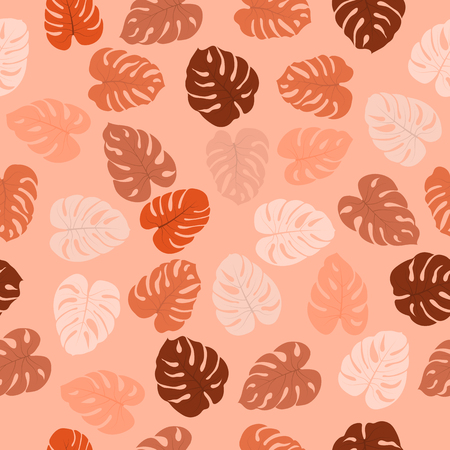 Seamless pattern with tropical plants monster leaves. Modern random colors. Ideal for textiles, packaging, paper printing, simple backgrounds and textures. Ilustração