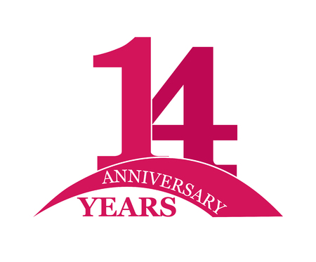 14 years anniversary, flat simple design, logo