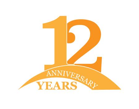 12 years anniversary, flat simple design, logo