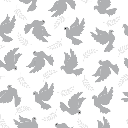 Seamless pattern with pigeons and olive branch. Modern random colors. Ideal for textiles, packaging, paper printing, simple backgrounds and textures.