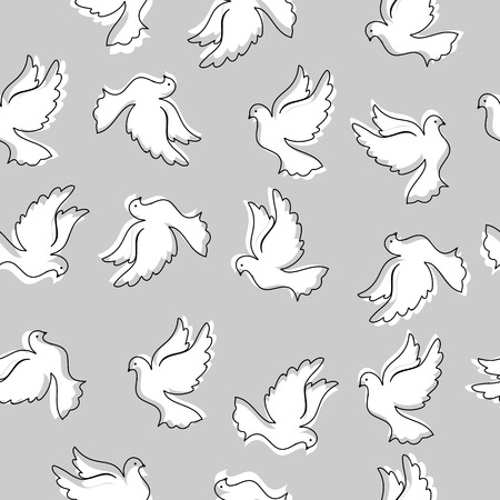 Seamless pattern with pigeons for design and decoration. Modern random colors. Ideal for textiles, packaging, paper printing, simple backgrounds and textures. Illustration