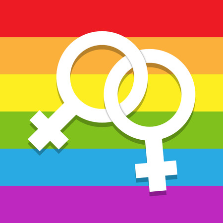 Two intertwined feminine symbols on a background of LGBT colors, lesbian symbol