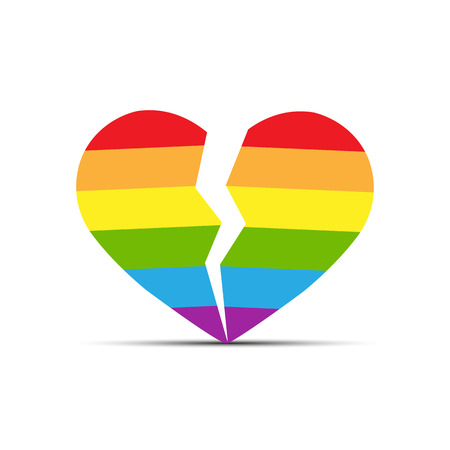 Heart in the colors of LGBT is split into two halves, flat design
