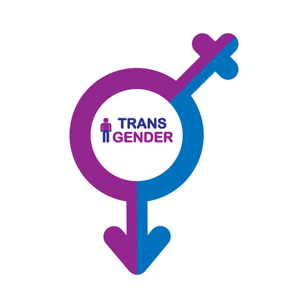 Combined male and female symbol, transgender symbol, simple design Illustration