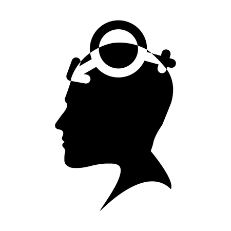 Profile of a male head with a symbol bigender, flat design Stock Illustratie