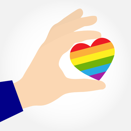 Hand holding a heart in the colors of LGBT, flat design  イラスト・ベクター素材