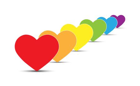 Six symbols of hearts in colors of LGBT, flat design