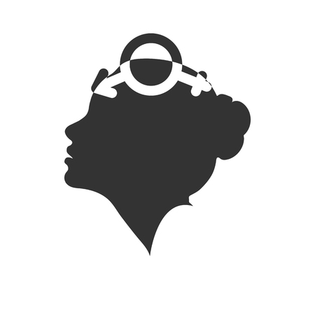 Profile of a female head with the symbol of bigender, flat design