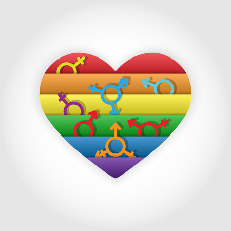 Heart in the colors of LGBT gender symbols in the colors of LGBT